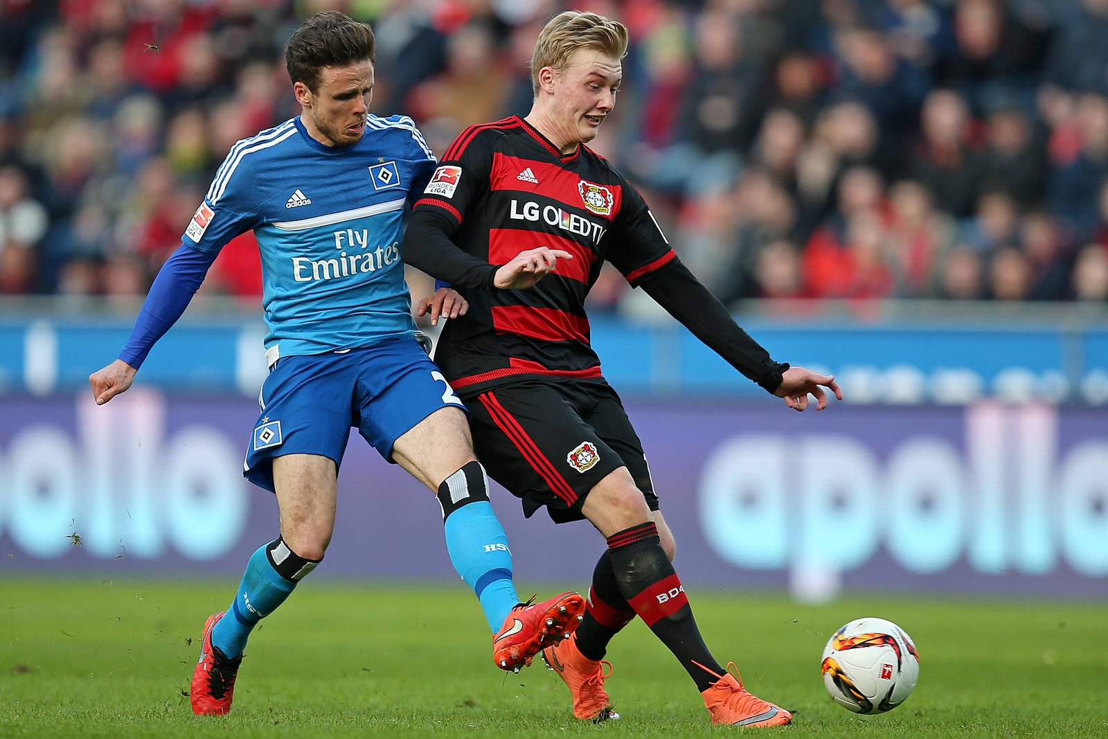 Nicolai Müller im Zweikampf mit Julian Brandt. Jetzt auf HSV gegen Leverkusen wetten!