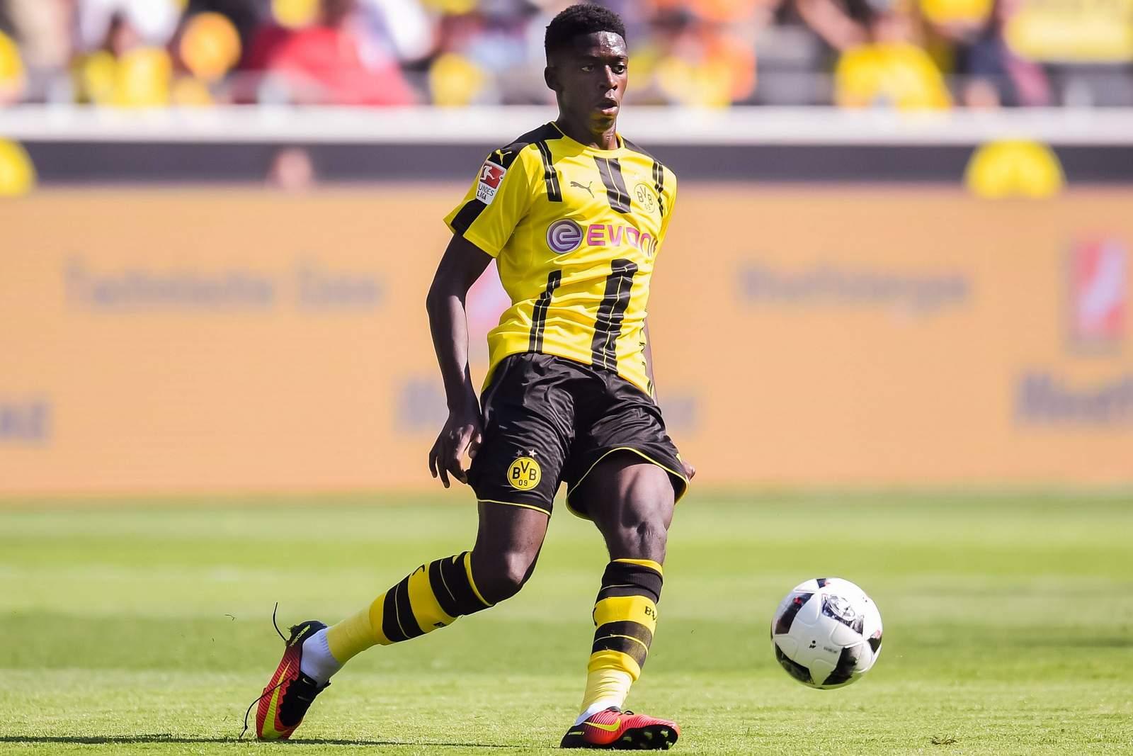 Ousmane Dembele vom BVB am Ball. Jetzt auf Red Bull Leipzig gegen Dortmund wetten!