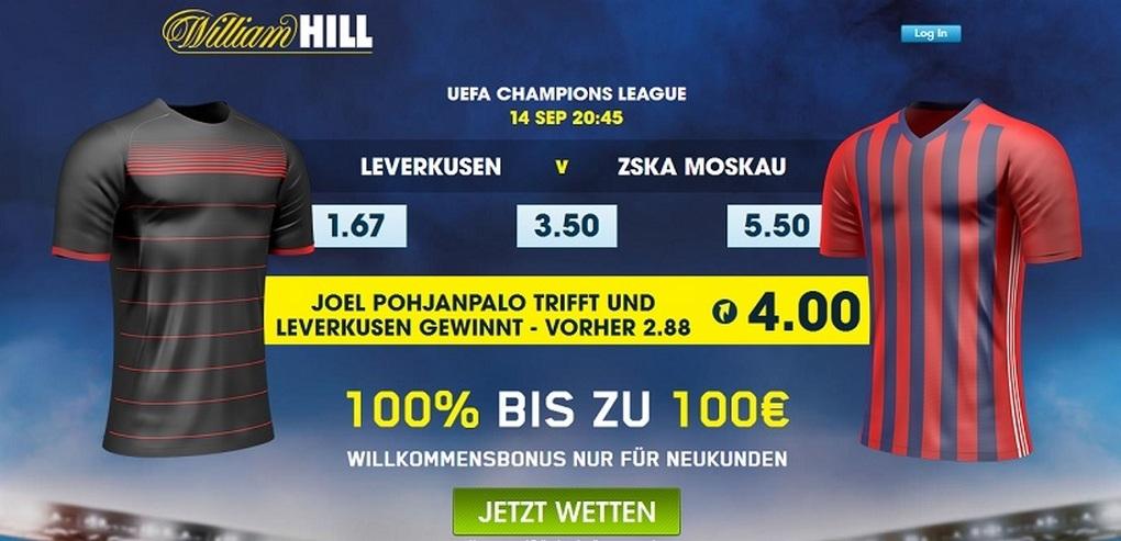 Screenshot Quoten Leverkusen ZSKA