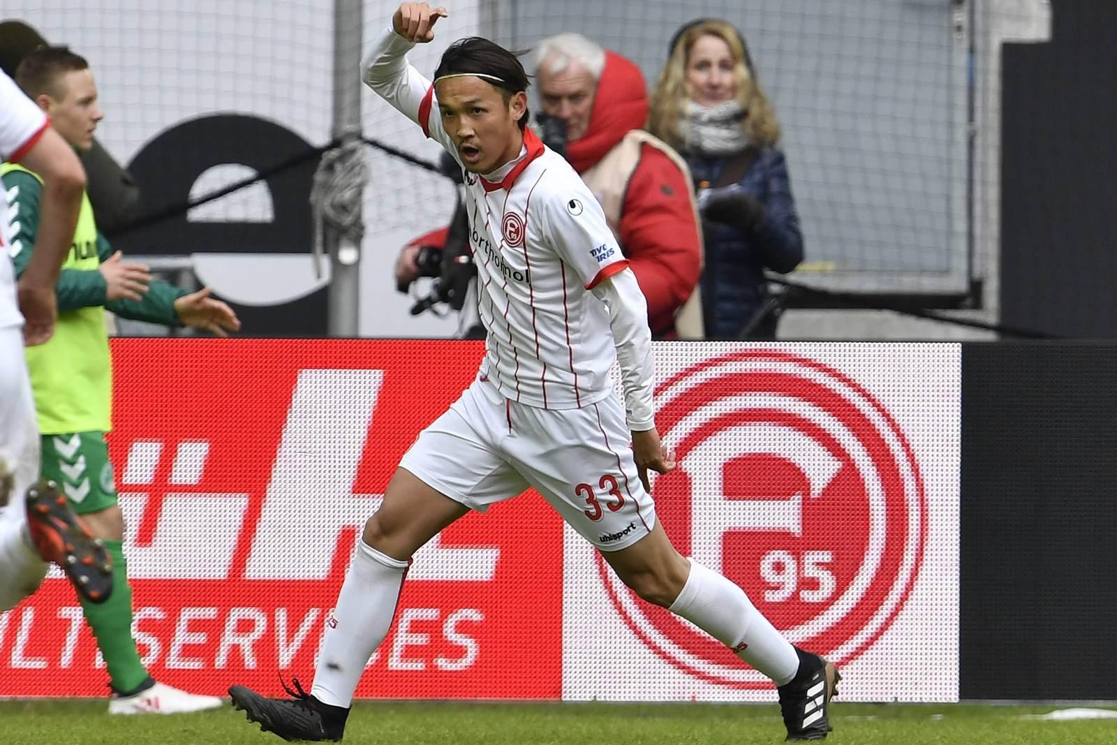Takashi Usami jubelt für Fortuna Düsseldorf