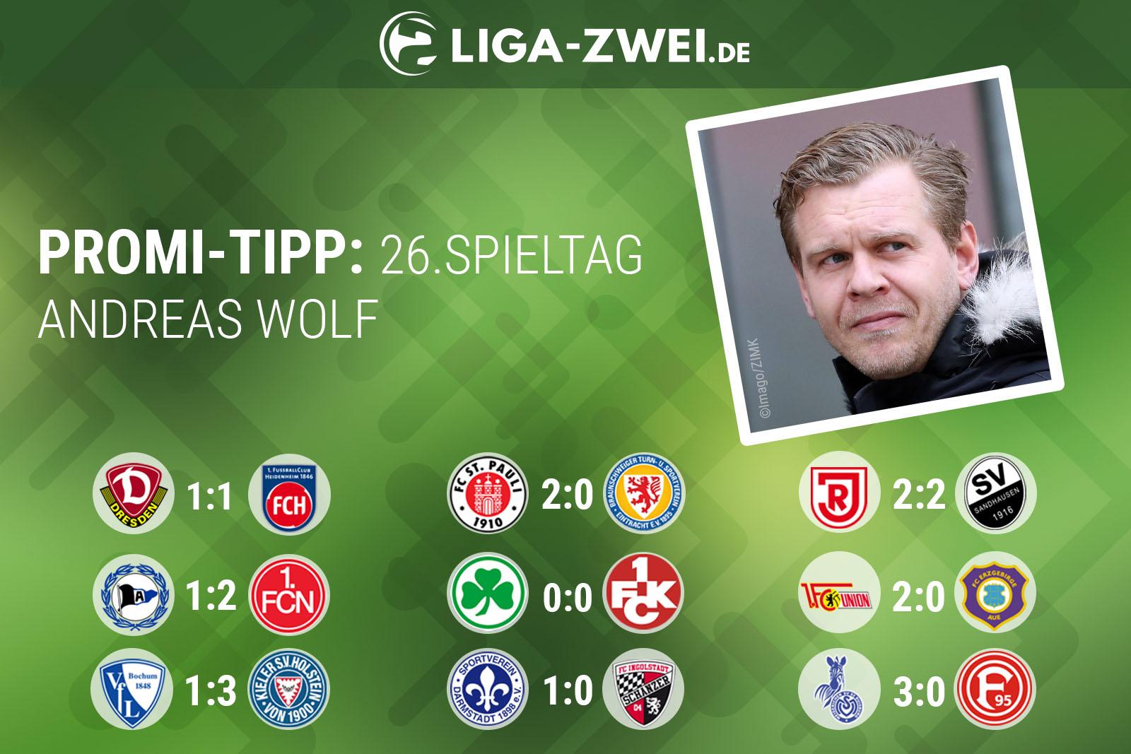 Andreas Wolf tippt den 26. Spieltag der 2. Bundesliga