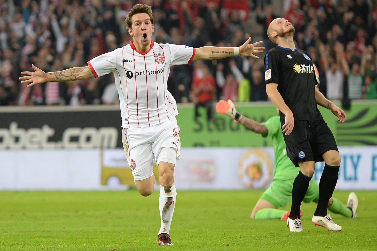 Benito Raman von Fortuna Düsseldorf nach seinem Tor gegen den MSV Duisburg
