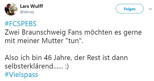 Tweet zu Pauli gegen Braunschweig