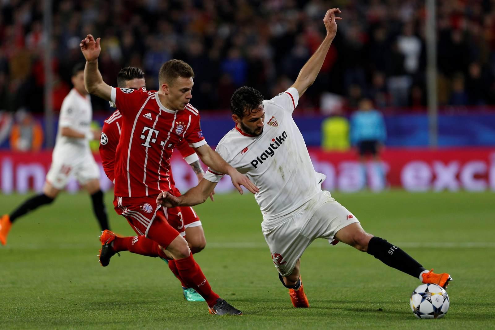 Joshua Kimmich gegen Franco Vazquez. Jetzt auf die Partie Bayern vs Sevilla wetten