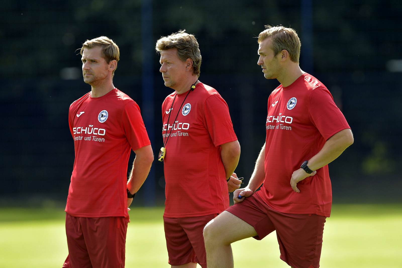 Sebastian Hille, Jeff Saibene und Carsten Rump im Training von Arminia Bielefeld