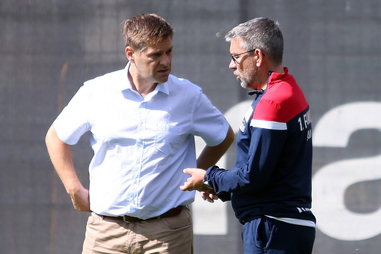 Oliver Ruhnert und Urs Fischer vom 1. FC Union Berlin
