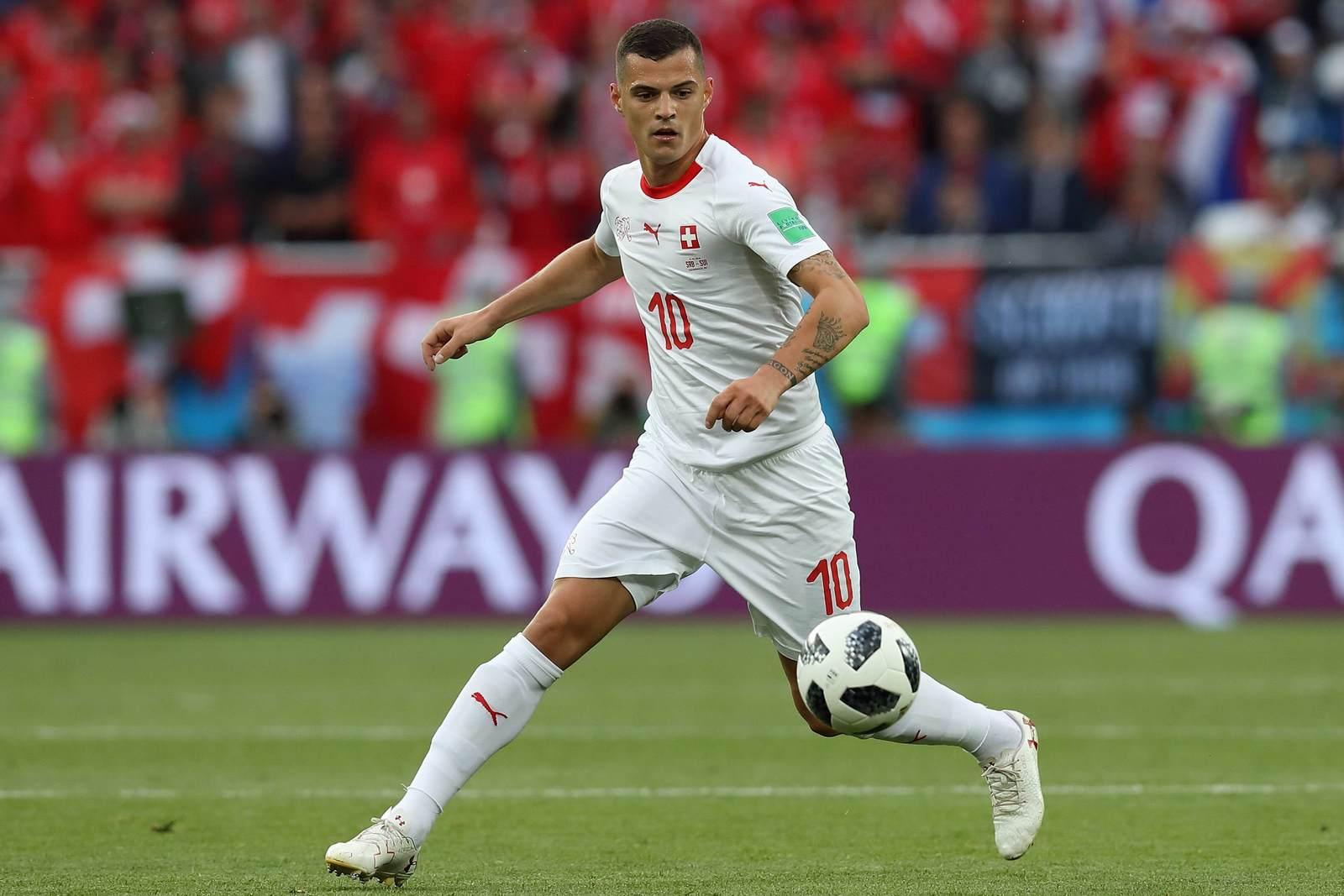 Granit Xhaka am Ball für die Schweiz. Jetzt auf die Partie Schweiz gegen Costa Rica wetten