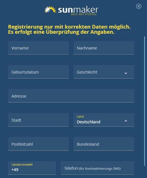 Registrierung bei Sunmaker