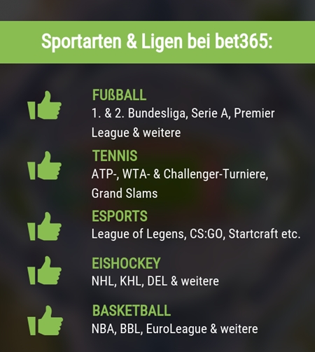 Sportarten & Ligen in der bet365 App