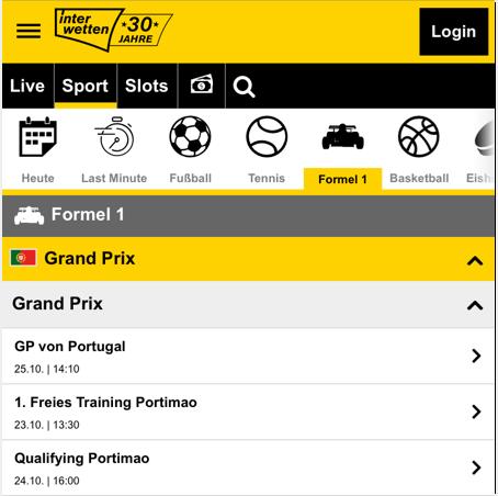 Interwetten Wettprogramm zur Formel 1