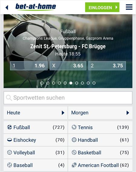 Mobile Startseite von bet-at-home