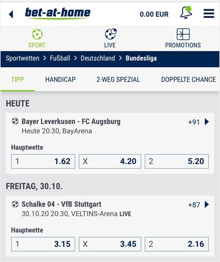 Wettmärkte auf die Bundesliga bei bet-at-home