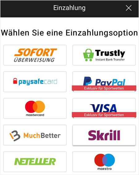 Zahlungsmethoden in der bwin App