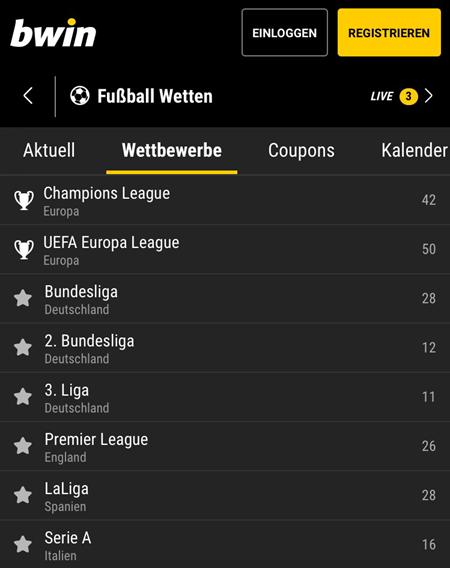 Wettmärkte im Fußball in der bwin app