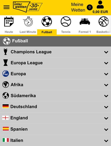 Fußball-Märkte bei Interwetten