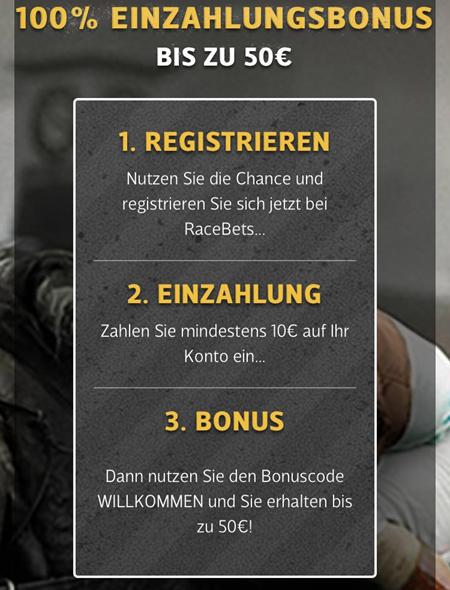 In 3 Schritten zum Racebets Bonus.