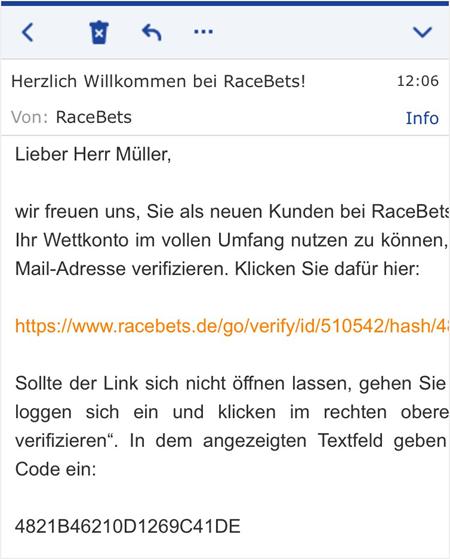Bestätigung der eMail bei Racebets.