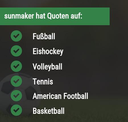Sportarten bei sunmaker