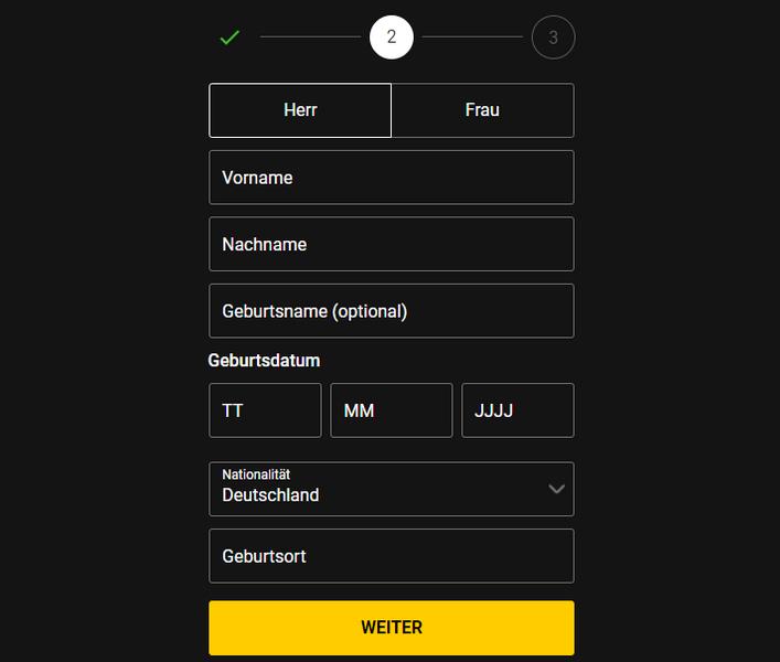 Schritt 1 der bwin Registrierung