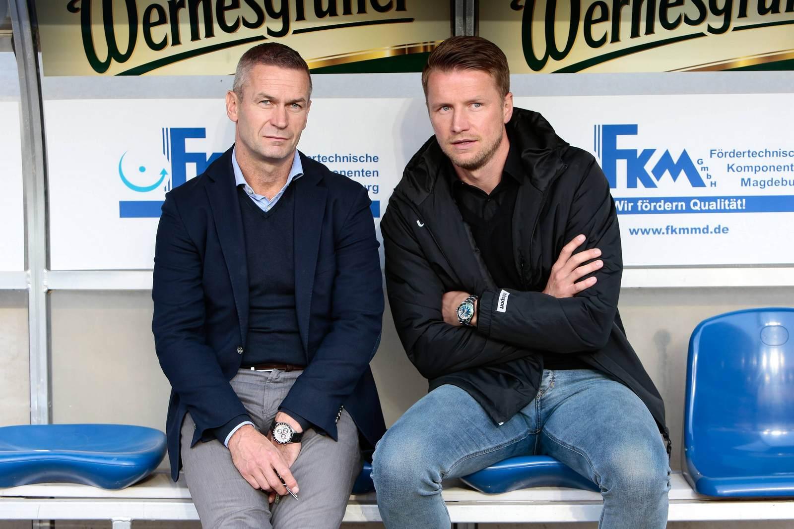 Maik Franz und Mario Kallnik vom 1. FC Magdeburg