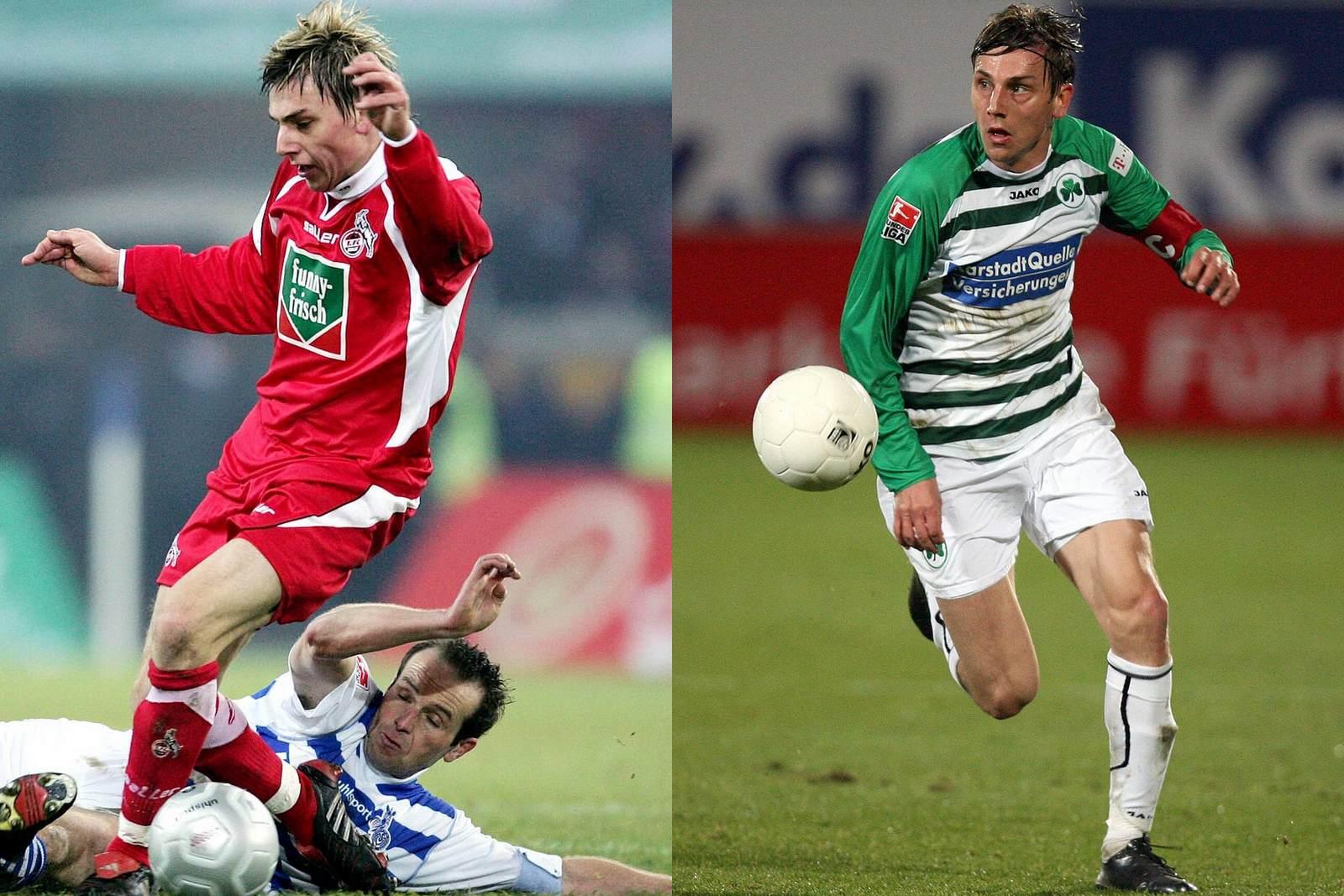 Timo Achenbach in Aktion beim 1. FC Köln (hier gegen Dirk Lottner) und bei Greuther Fürth