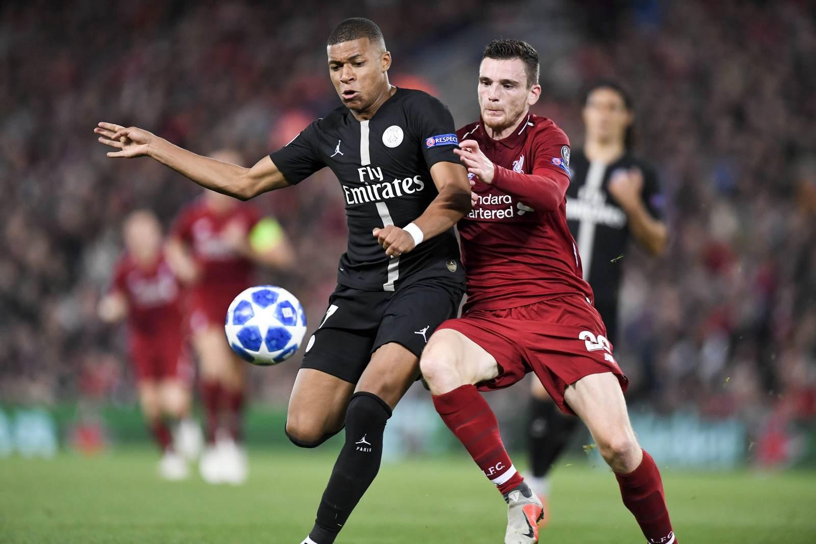 Kylian Mbappé gegen Andrew Robertson. Jetzt auf PSG vs Liverpool wetten
