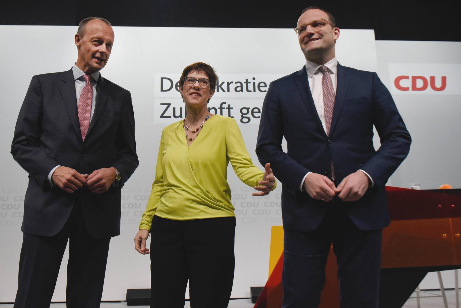 Friedrich Merz, Annegret Kramp-Karrenbauer und Jens Spahn von der CDU