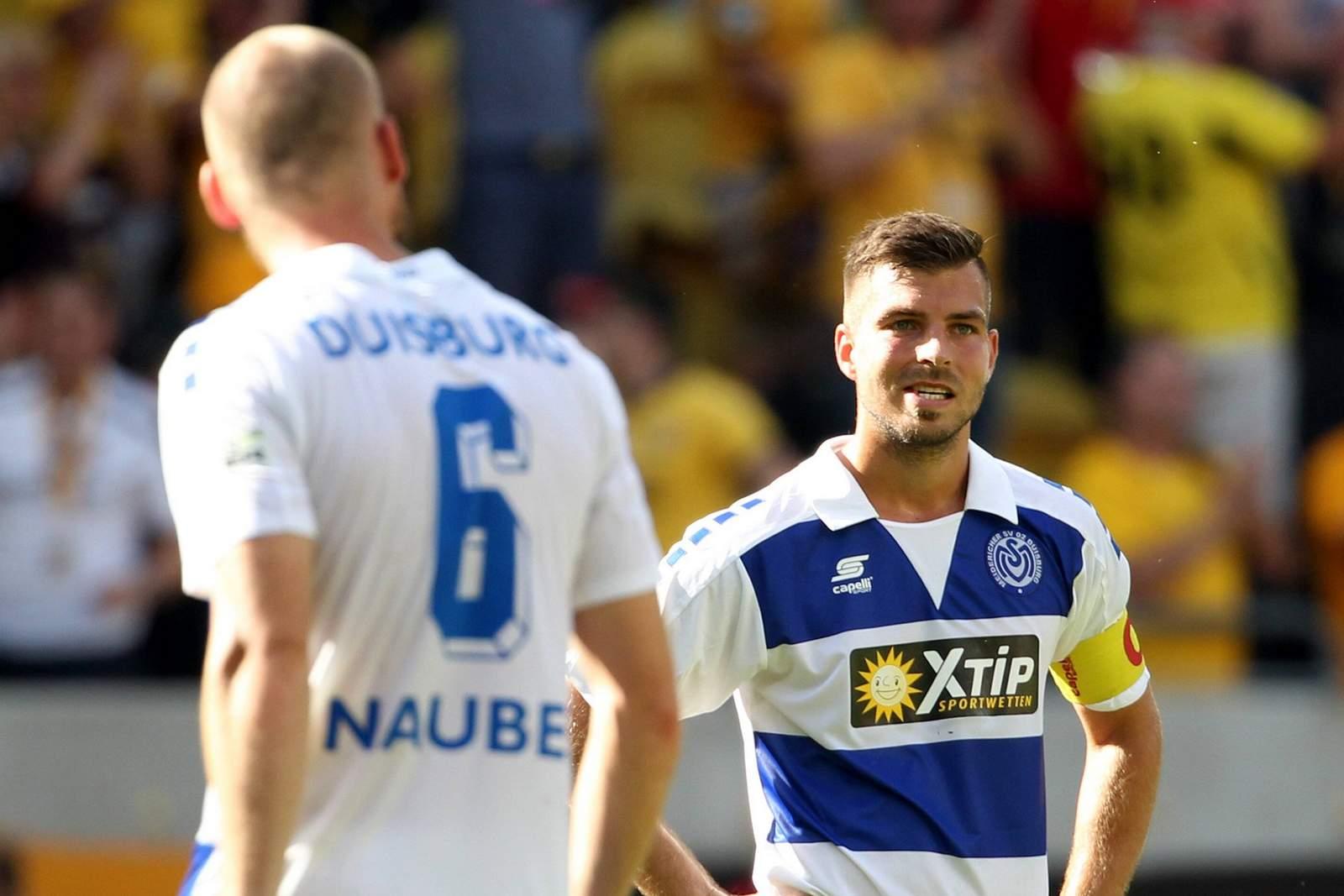 Gerrit Nauber und Kevin Wolze vom MSV Duisburg