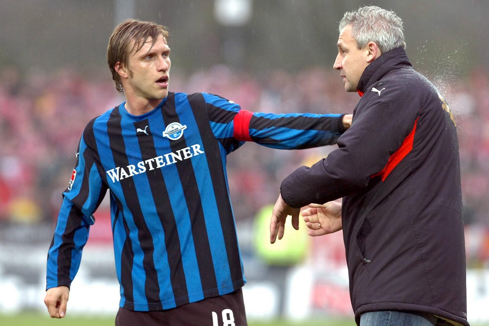 Markus Krösche und Pavel Dotchev beim SC Paderborn