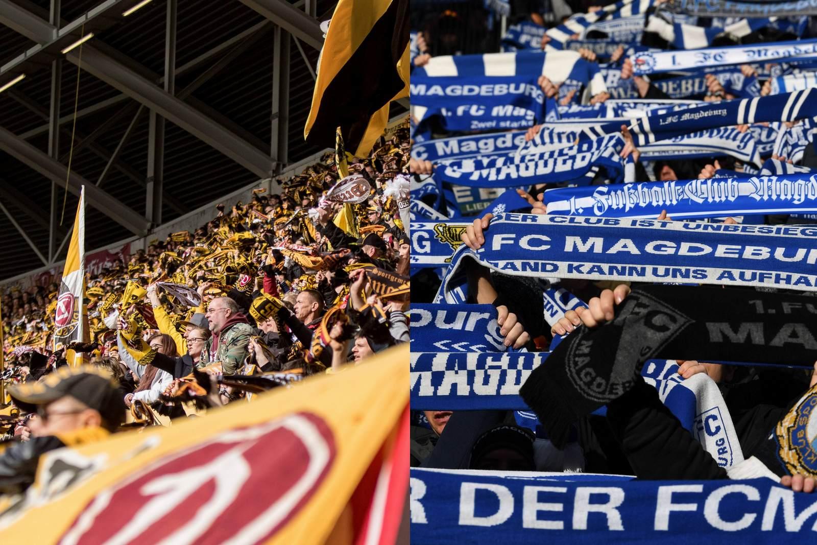 Im Stadion bei Dynamo Dresden bzw. dem 1. FC Magdeburg