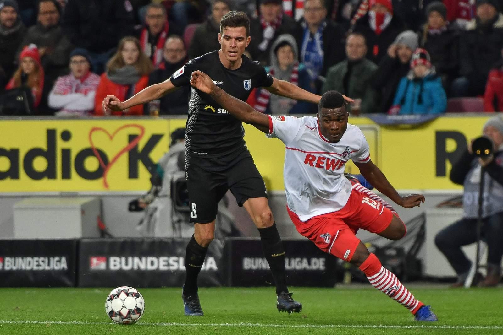 Jhon Cordoba, 1. FC Köln und Tobias Müller vom 1. FC Magdeburg