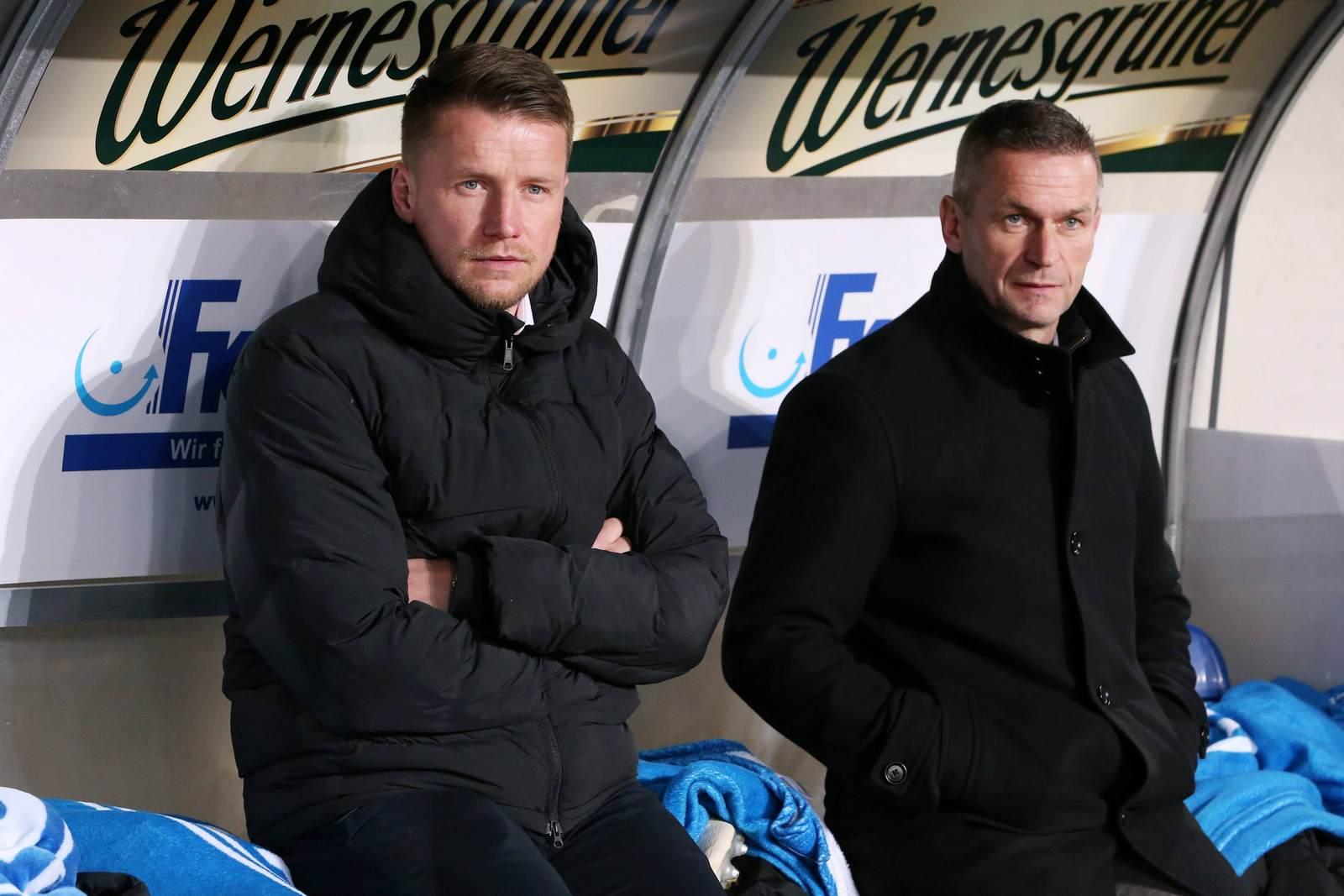 Maik Franz und Mario Kallnik auf der Bank