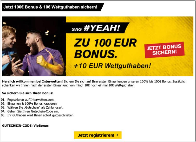 Interwetten Screenshot Bonus