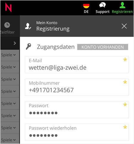 Registrierung bei Neo.bet