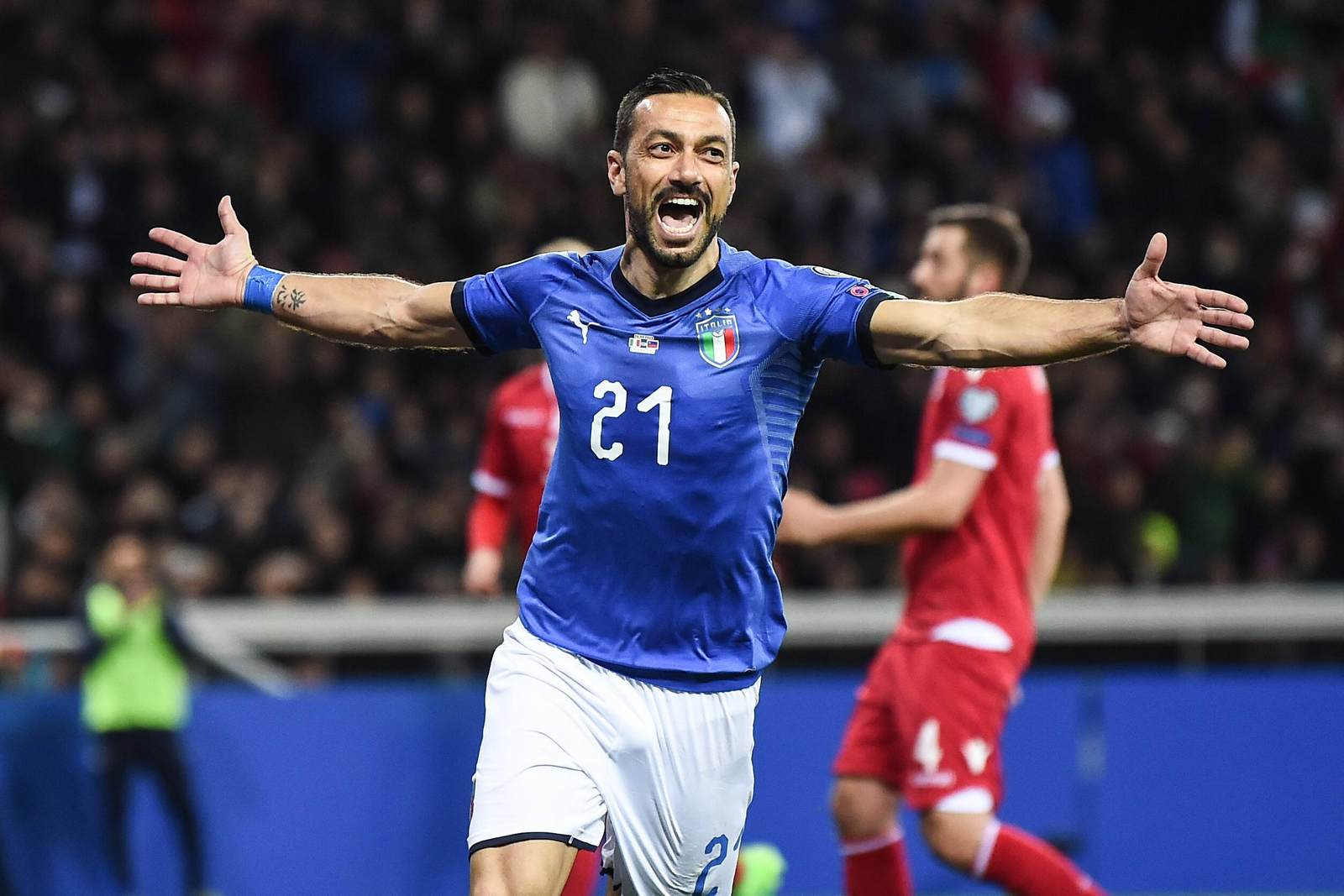 Fabio Quagliarella jubelt. Jetzt auf Griechenland gegen Italien wetten