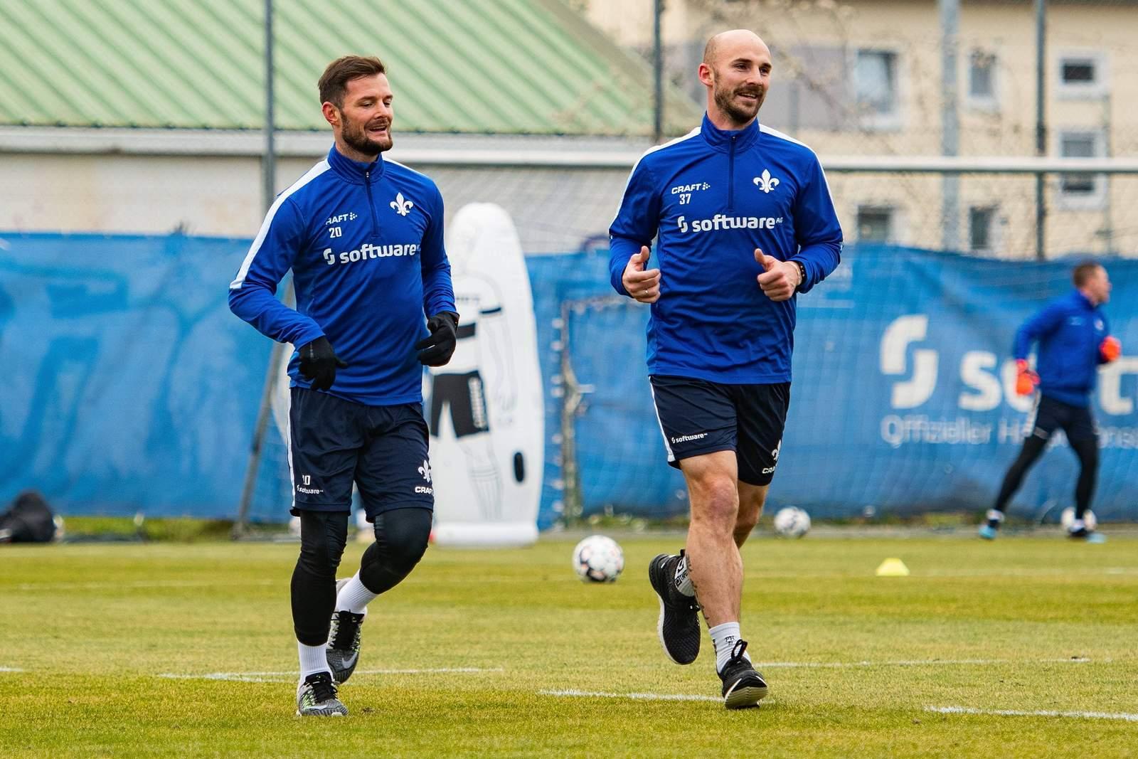 Marcel Heller (l.) und Patrick Herrmann im Training.