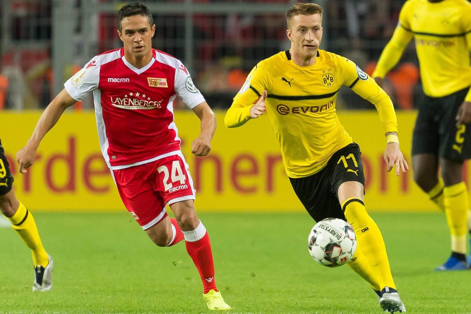 Manuel Schmiedebach von Union Berlin gegen Marco Reus vom BVB