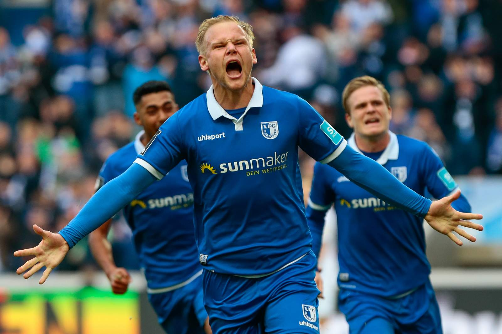 Sören Bertram bejubelt seinen Treffer gegen Halle.