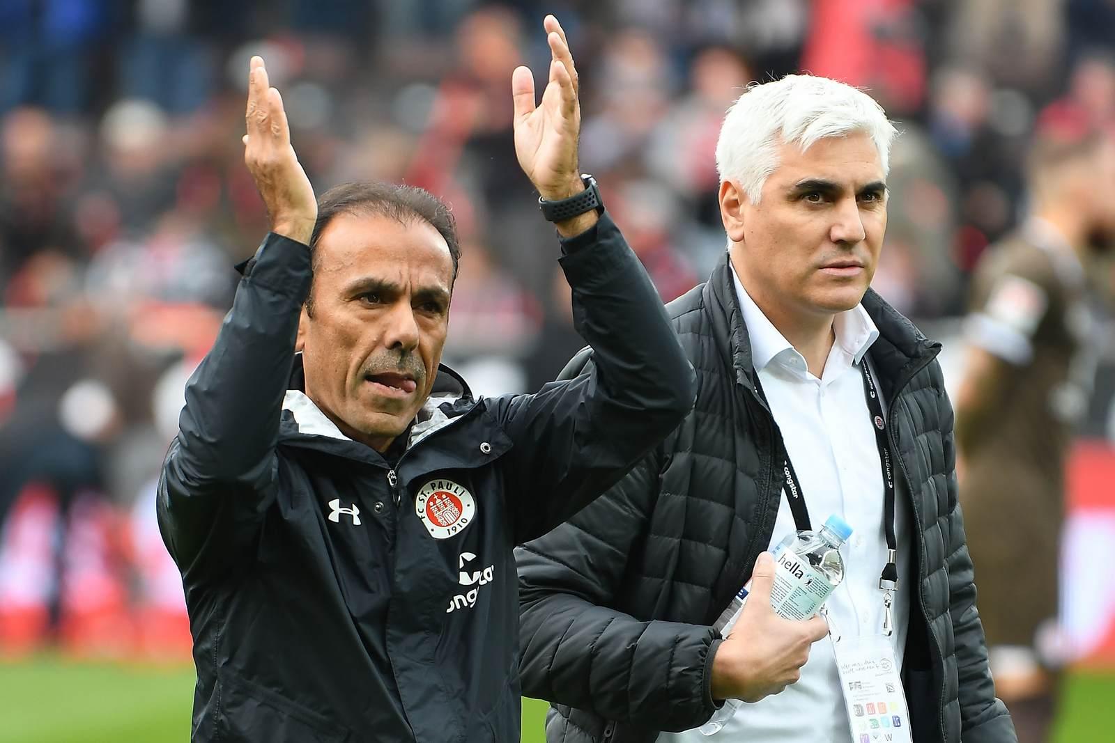Jos Luhukay und Andreas Bornemann beim FC St. Pauli