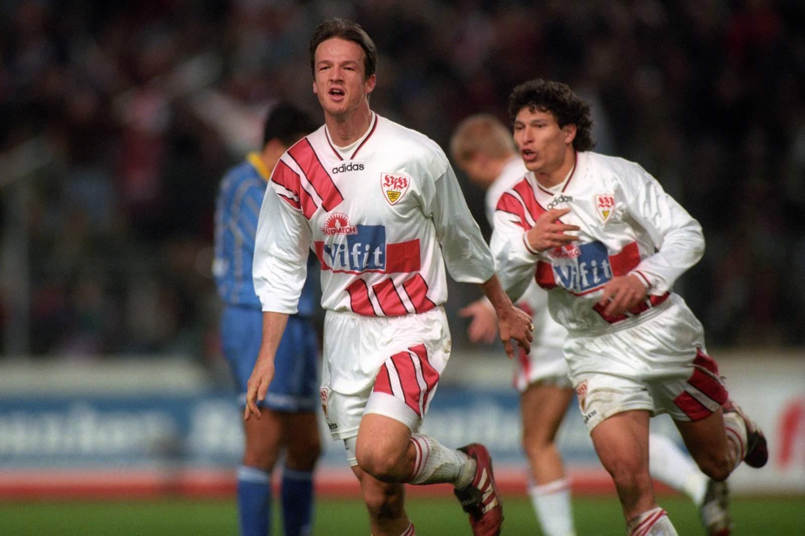 Fredi Bobic und Krasimir Balakov beim VfB Stuttgart