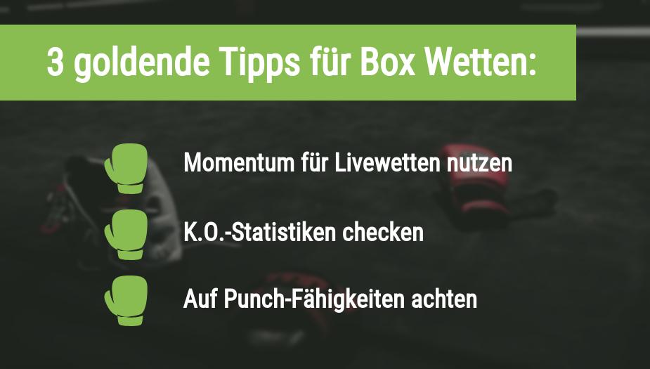 Die 3 goldenen Tipps für Box Wetten