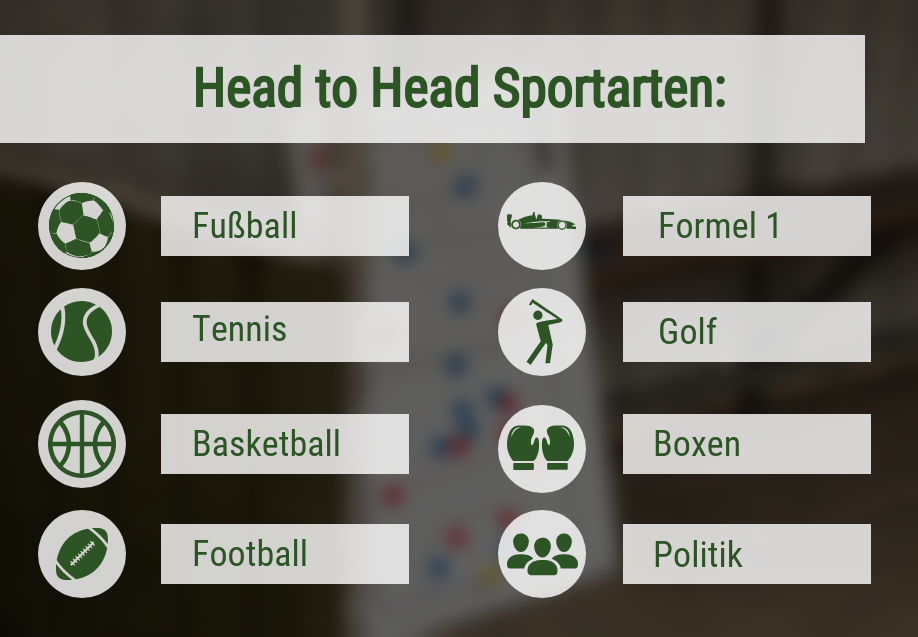 Head to head Sportarten