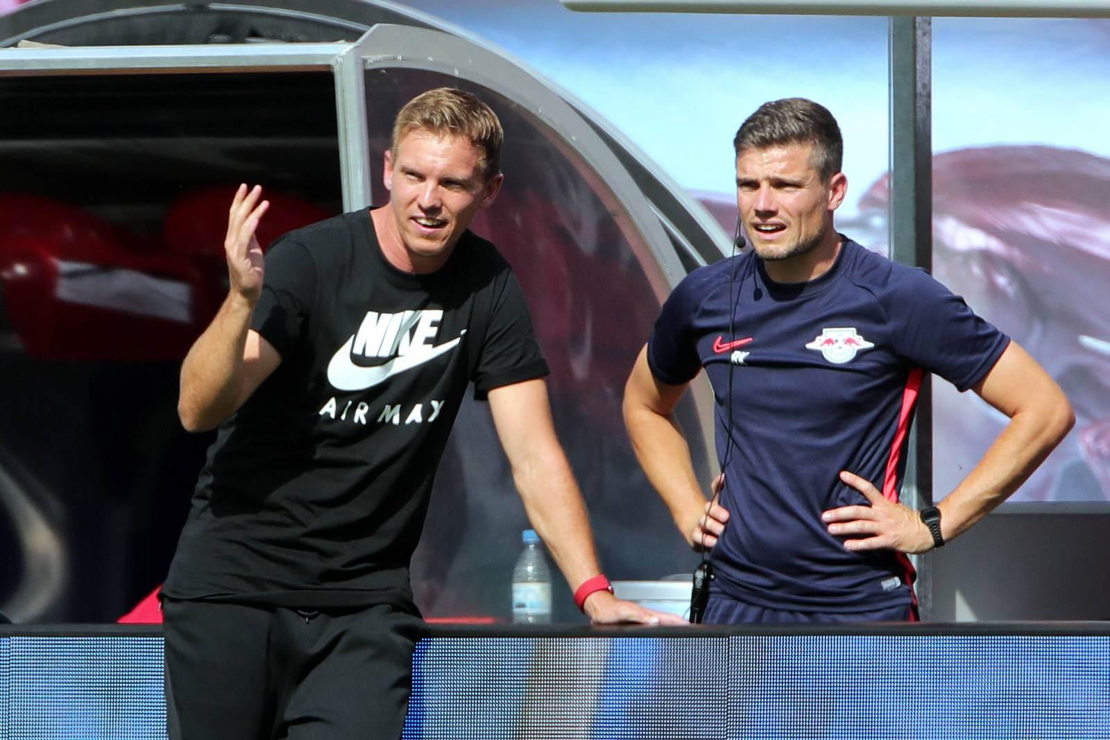 Robert Klauß und Julian Nagelsmann bei RB Leipzig