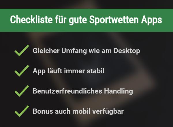 Checkliste für Sportwettenapps