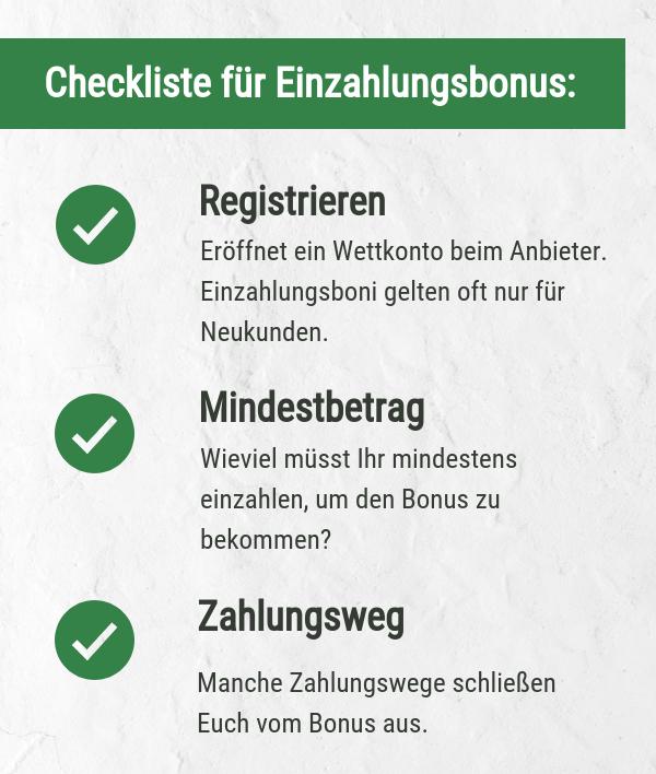 Checkliste Einzahlungsbonus