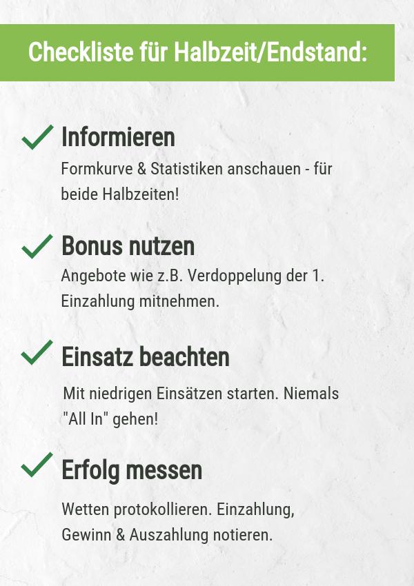 Checkliste für HT/FT Wetten