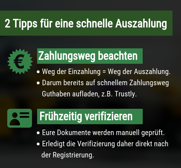 Tipps für schnelle Auszahlung