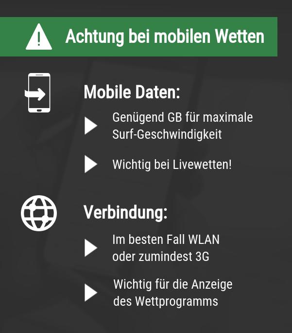 Achtung bei mobilen Wetten
