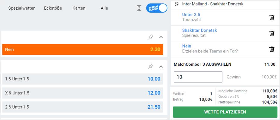 Match-Combo von betano