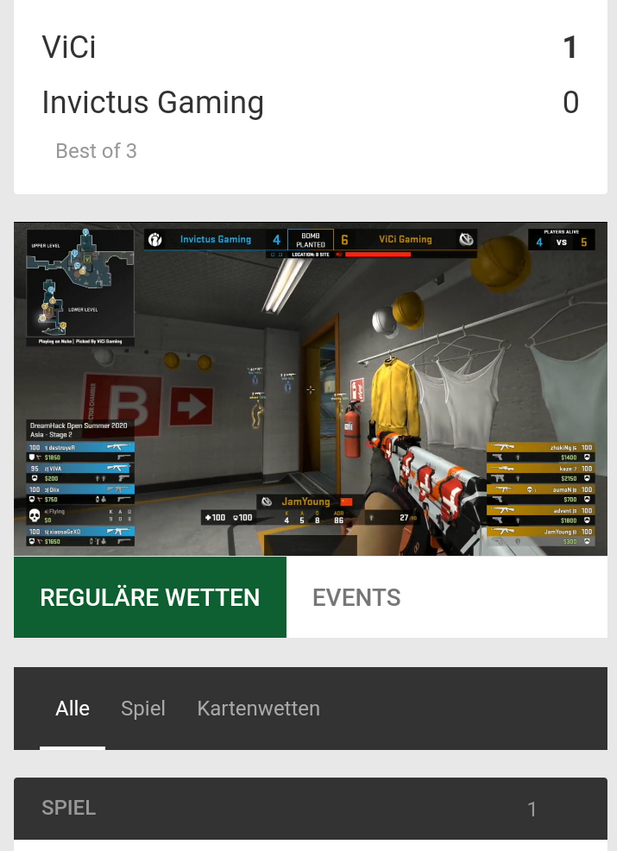 eSports Livestream bei Unibet